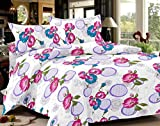 India Furnish 100% Cotton Satin Weave Flower Design Double Bedsheet Set with 2 Pillow Covers Purple & Pink Color