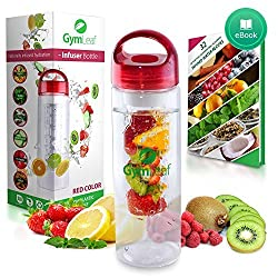 Fruit Infused Water Bottle (Red) 24 Ounce BPA-free non-slip plastic + Free Recipe Ebook ...