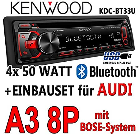 Audi a3 8P-kenwood kDC-bT33U-bluetooth cD/mP3/uSB avec kit de montage