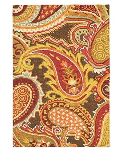 Handmade Infinity Rug, Red/Yellow, 5' x 7' 6