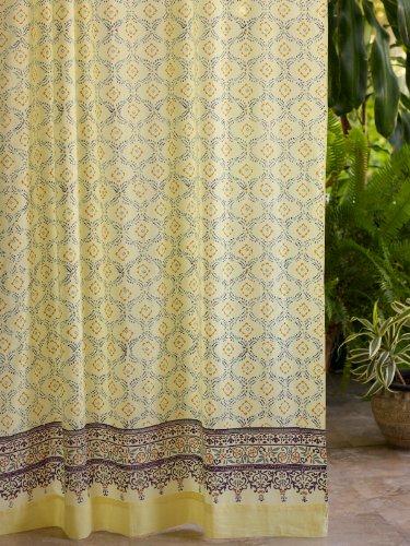 Morning Dew (C) ~ Stylish Elegant Yellow Blue French Curtain 63X46 front-420550