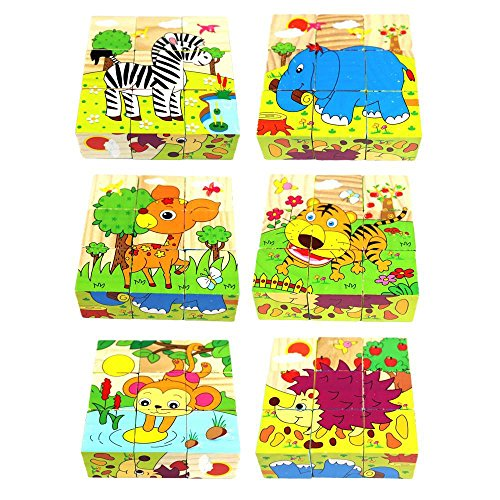 Kardiar Children's Educational 3X3 Wooden Cartoon Animal Painting Stacking Building Bricks Kids Floor Puzzle Wood Jigsaw Puzzles Blocks Toy