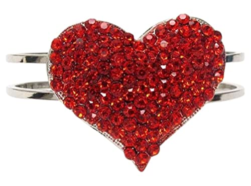 Beautiful Sparkling Red Crystal Embellished Heart Silver Tone Bangle Bracelet for Women and Teens Valentine's Day Gift