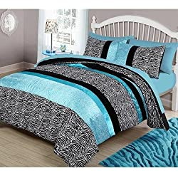Teen Girl Black Teal Supersoft Zebra Cheetah Leopard Twin Comforter Set (2pc)