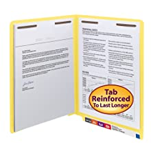 Smead End Tab Fastener Folder, Letter, Straight, Two 2-Inch Prong B Style #1 and #3 Fasteners, Yellow, 50 per Box (25940)