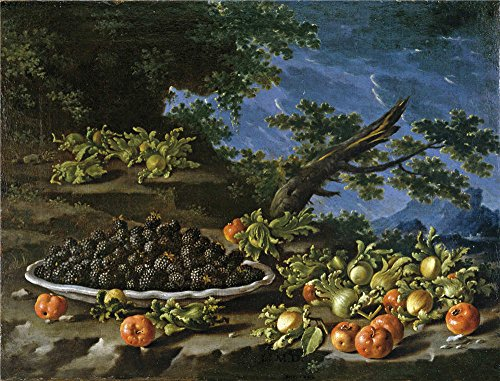 The Polyster Canvas Of Oil Painting 'Melendez Luis Egidio Bodegon Con Plato De Moras Acerolas Y Avellanas En Un Paisaje 18 Century ' ,size: 24 X 32 Inch / 61 X 80 Cm ,this Amazing Art Decorative Prints On Canvas Is Fit For Laundry Room Decoration And Home Artwork And Gifts