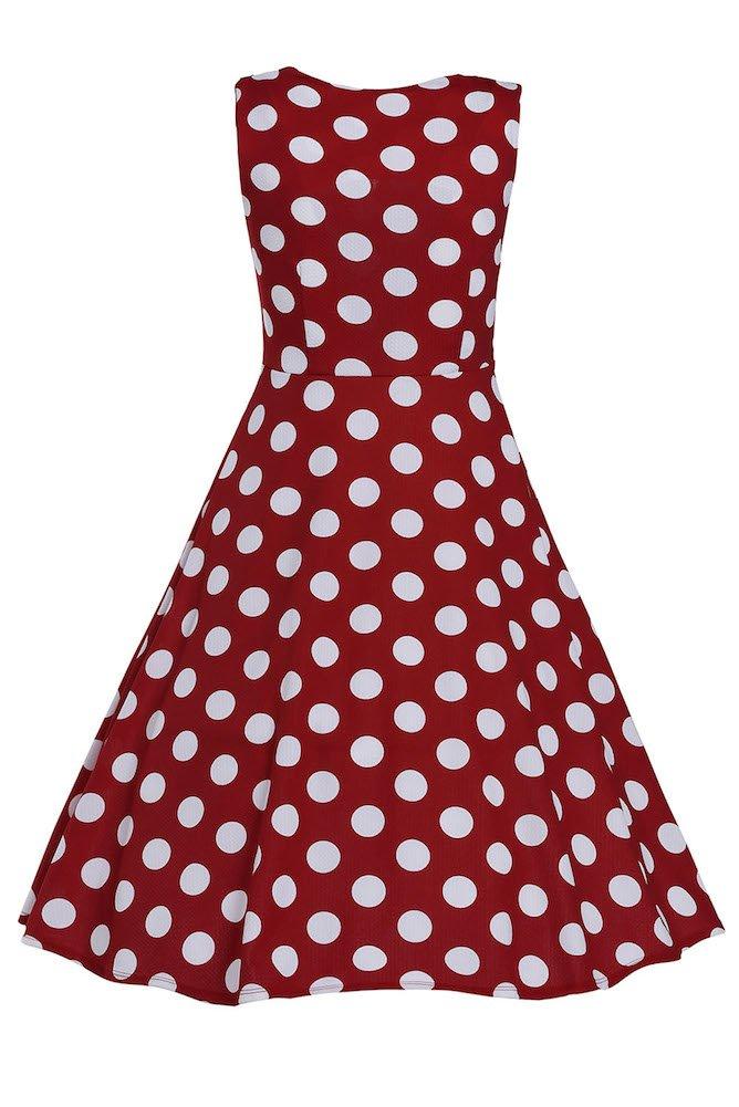 Roswear Women's Vintage 1950s Polka Dot A Line Belted Skater Dress 4