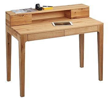Dreams4Home Schreibtisch 'Burton' Holz Massiv Wildeiche Burotisch Tisch Sekretär Schminktisch 110 x 96 cm