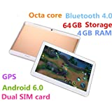 10.1 inch Metal case Tablet Android 6.0 GPS Octa Core 2560X1600 IPS Bluetooth 4.0 RAM 4GB Storage 64GB 13.0 MP 3G Phone Call Tablets PC Dual sim card TYD-108-64GB-Gold