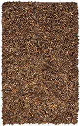 Safavieh Leather Shag Collection LSG511B Hand Woven Saddle Leather Area Rug, 4 feet by 6 feet (4\' x 6\')