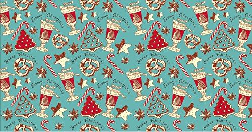 Retro Christmas Kraft Wrapping Paper Sets (Reindeer-Mistletoe-SodaShoppe on Brown Kraft) 5