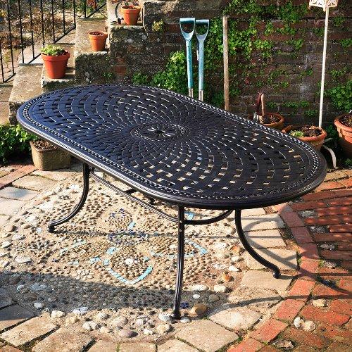 Catherine 210 x 105cm Ovales Gartenmöbelset Alu – 1 CATHERINE Tisch + 6 ROSE Stühle günstig kaufen