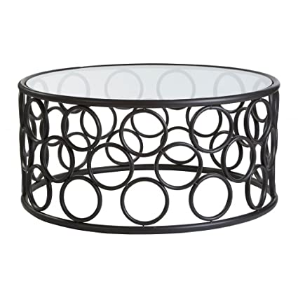 Fusion Living Mesa de centro de círculos de Metal negro con tapa de cristal