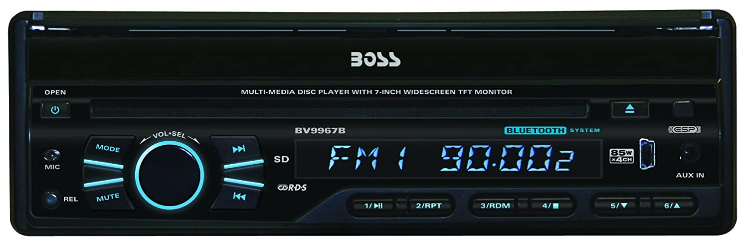 "Boss Audio BV9967B Bluetooth Enabled, In-Dash, Single-DIN, DVD/MP3/CD AM/FM Receiver With Motorized 7"" Widescreen, Touchscreen, Digital, TFT Monitor"
