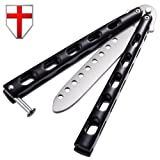 Butterfly Knife - Balisong Trainer Practice Professional Dull Knife - Black Metal Butterfly Unsharpened Knife Stainless Steel Blade - Grand Way 1022 EY (Color: Black)