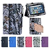 i-UniK Classic Leather Case and Stylus Pen for Amazon Fire 7-Inch Display Tablet, Hunting Tree Camo