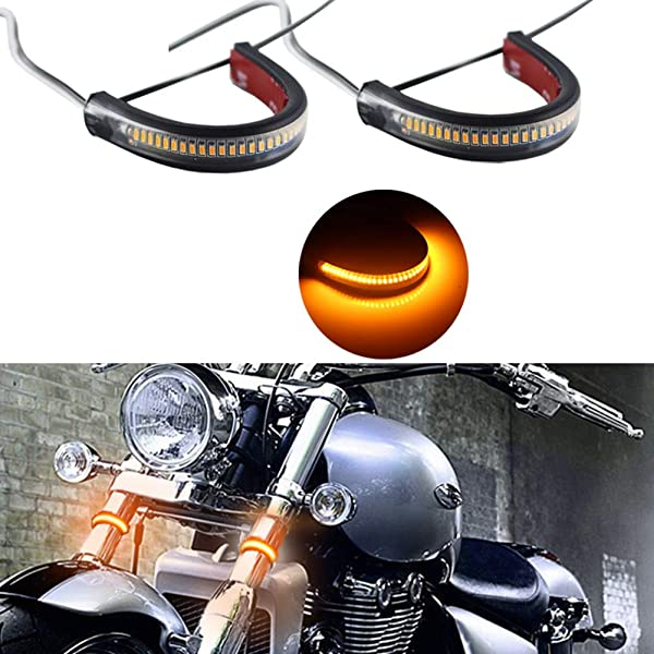2Pcs 24 LED Motorcycle Front Fork Wrap-around Turn Signal Indicator Light Strip