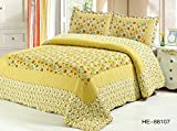 Newrara Yellow Sunflower Color Multifunction Quilt Set Patchwork Quilt Bedspread Bed Cover Bedding Set 3pcs 100% Cotton