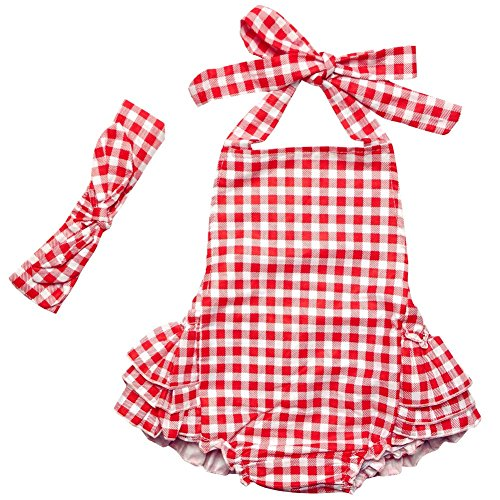 DQdq Baby Girls' Wave Striped Print Ruffles Romper Summer Dress (12 month, Red grid)