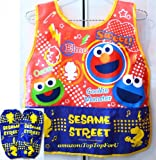 Authentic Sesame Street Elmo 3 Pockets Children Apron with Arm Sleeves Set Breathable Waterproof