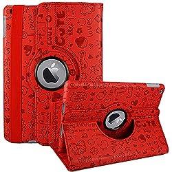 KolorFish iFun Cartoon Love Prints Funky Leather 360 Degree Rotate Case Cover for Apple iPad 2, iPad 3, iPad 4 (Red)