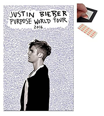 Bundle - 2 Items - Justin Bieber Purpose Tour Poster - 91.5 x 61cms (36 x 24 Inches) and a Set of 4 Repositionable Adhesive Pads For Easy Wall Fixing