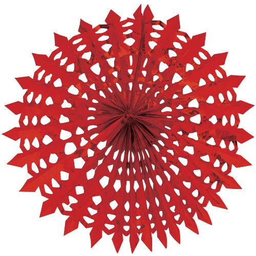 "Creative Converting Glitz Red Hanging Décor 16"" Dimensional Foil Fan"