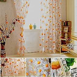 Fenta Sunflower Tulle Voile Door Window Curtain Drape Panel Sheer Scarf Valances