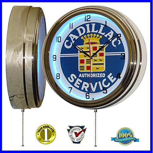 "Authorized Cadillac Service Sign 15.5"" Retro Blue Neon Clock"