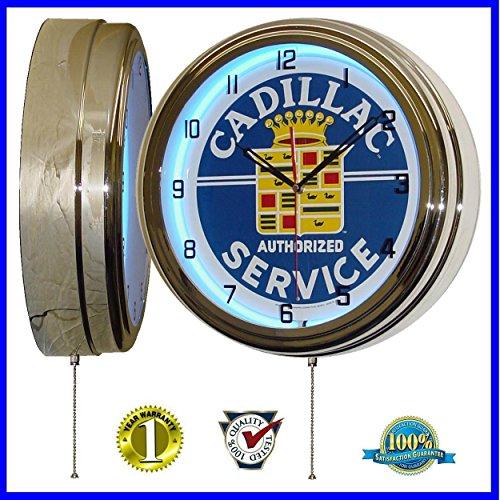 "Authorized Cadillac Service Sign 15.5"" Retro Blue Neon Clock 0"