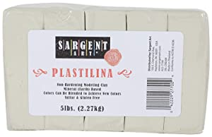 Sargent Art Plastilina Modeling Clay, 5-Pound, Cream (Pack of 3) (Tamaño: Pack of 3)