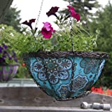 Toland Home Garden Blue Marrakesh 14-Inch 2-Gallon Decorative Insulated Hanging Art Planter Basket 202003