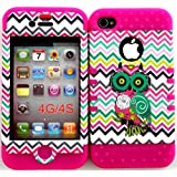 Bumper Case for Apple iphone 4 4G 4S Colorful Chevron Waves with Owl hard plastic snap on over Pink Silicone Gel