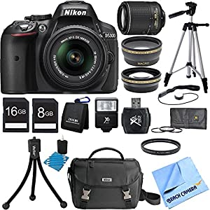 Nikon D5300 DX-Format Digital SLR Black with 18-55mm + 55-200mm VR II Lens Bundle includes Nikon D5300 DSLR Camera, 18-55mm Lens, 55-200mm Lens, 16GB + 8GB Memory Cards, Card Wallet, Mini Tripod, Full Size Tripod, Camera Bag, Deluxe Filter Kit and Much Mo