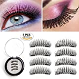 Magnetic Eyelashes 2 Pairs Dual Magnetic False Eyelashes No Glue 3D Reusable Fake Magnet Eyelashes 0.2MM Ultra Thin Handmade Fake lashes for Ultra Soft Natural Look Seconds to Apply (2 Pairs 8 Pieces)
