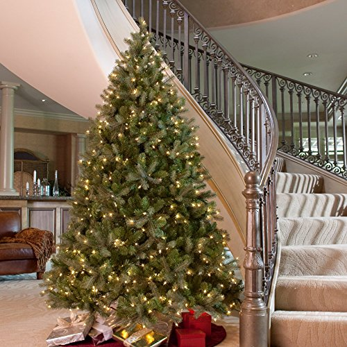 "National Tree 4-1/2-Feet ""Feel-Real"" Downswept Douglas Fir Hinged Tree with 450 Clear Lights"