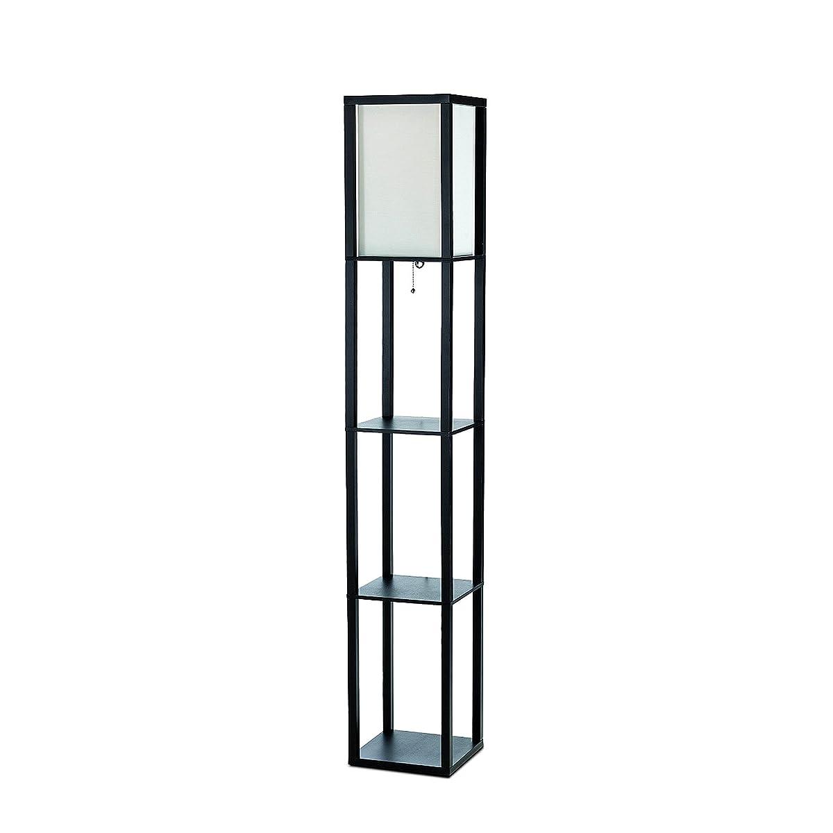 Simple Designs LF1014-BLK Floor Lamp Etagere Organizer Storage Shelf with Linen Shade, Black