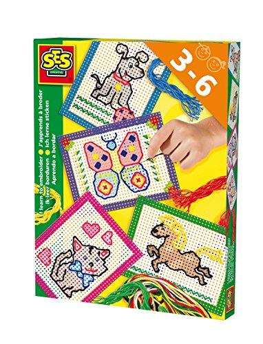 SES Creative - Aprendo a bordar, kit de juego, multicolor (14838)