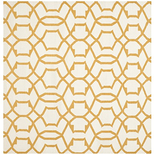 Safavieh Dhurries Collection DHU751C Handmade Ivory and Yellow Wool Square Area Rug, 6 feet by 6 feet Square (6' x 6' Square)