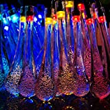 Solar Outdoor Water Drop String Lights, Samxu 20ft 30 LED Waterproof Multi-color Lights for Garden, Patio, Yard, Home, Christmas Tree, Parties and Holiday Decorations