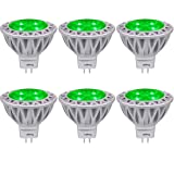Green MR16 LED Light Bulbs with GU5.3 Base 50W Equivalent Halogen Replacement 5W 12V Bi-pin Spotlight 38 Deg Landscape Pool Step Lighting-6 Packs (Color: Red, Tamaño: MR16 Standard Size)
