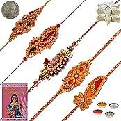 Little India SW601KK Ethnic Style 5 Pc Handmade Sandalwood Rakhi Gift Rakhi Raksha Bandhan Gift Band Moli Bracelet...