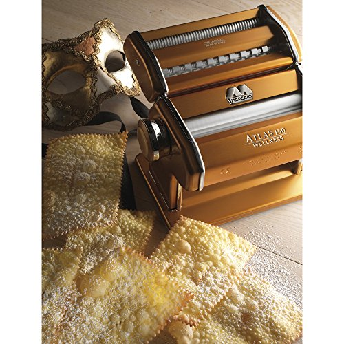 marcato atlas pasta machine stainless steel gold includes pasta cutter hand crank and. Black Bedroom Furniture Sets. Home Design Ideas