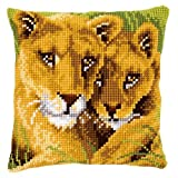 Vervaco Lion and Cub Cross Stitch Cushion Multi Colour