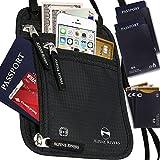 Neck Wallet Passport Holder & Travel Pouch RFID Blocking + Extra Bonus Sleeves