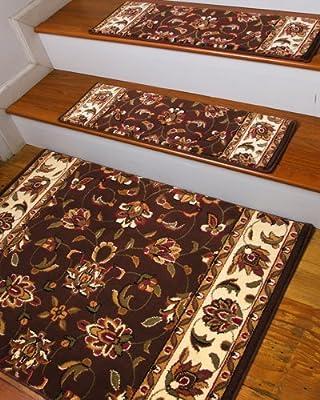 "NaturalAreaRugs Summit Carpet Stair Treads, 9"" x 29"" (Set of 13) w/ Landing Mat, Peel & Stick Strips Included"