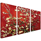 Art Wall 3-Piece Interpretation in Red Almond Blossom Gallery Wrapped Canvas Art by Vincent Van Gogh, 36 by 24-Inch