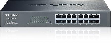 TP-LINK TL-SG1016DE Easy Smart Switch Administrable 16 Ports Gigabit (Bureau/Rackable, Boîtier Métal)
