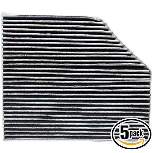 5-Pack Replacement Cabin Air Filter for 2015 PORSCHE MACAN V6 3.6L 3605cc Car/Automotive - Activated Carbon, ACF-11179