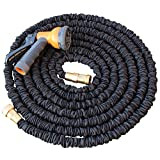 Black Mamba, Updated and Improved, 75', Expanding Garden Hose, Double Latex Core, Reinforced fabric cover, brass fittings, Includes 8 Position Spray Nozzle